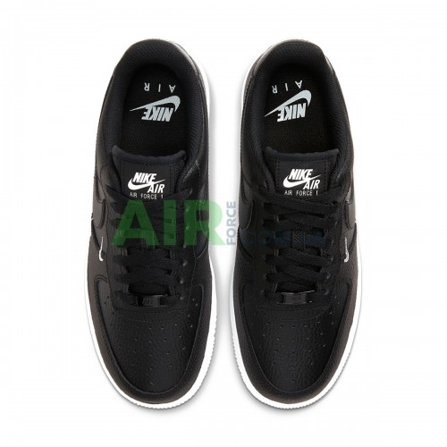 Air Force 1 Low 07 Essential Black White Silver Mini Swoosh CT1989-002